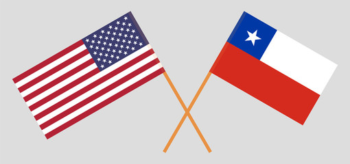 Chile and USA. The Chilean and United States of America flags. Official colors. Correct proportion. Vector