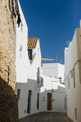 empty streets of white city in andalucia spain