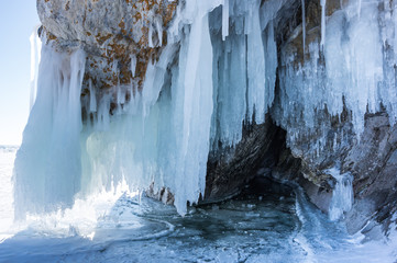 Door stickers Gray Icicles of Lake Baikal