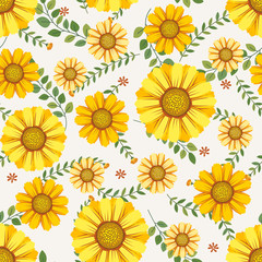 Floral vector artwork for apparel and fashion fabrics, Yellow cosmos flowers wreath ivy style with branch and leaves. Seamless patterns background.