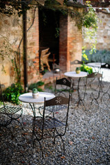 old tables at tuscan villa