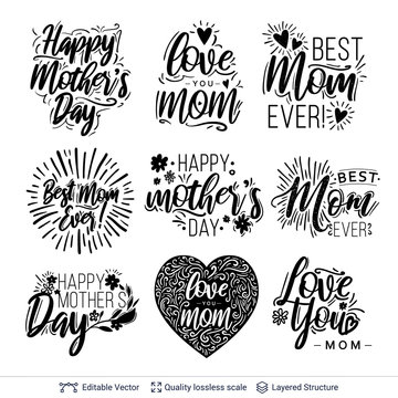 Set of greeting texts for Mother's Day holiday.