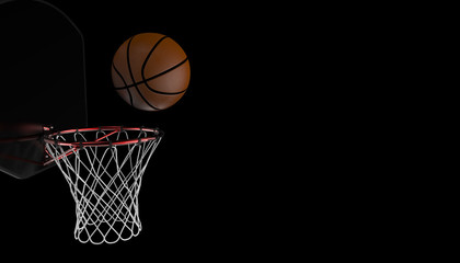 Basketball shot. professional close up on black background and sports fitness - 3D rendering