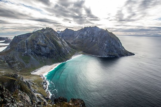 Beautiful aerial shot of the sea with mountains