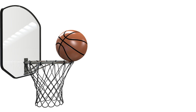 Basketball shot. professional close up isolated on black background and sports fitness - 3D rendering