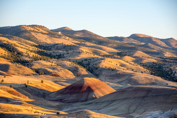 Overview picture of the Painted Hills in Oregon, USA on a summer evening.