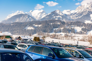 Car parking and mountains at the background - Dachstein massif, Liezen District, Styria, Austria Fototapete