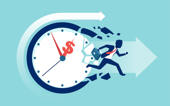 Vector of a businessman breaking a clock face running for a profit