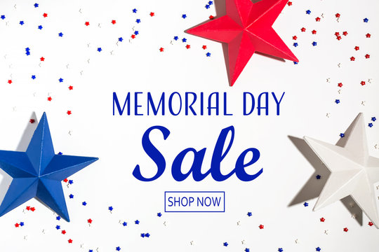 Memorial day sale message with red and blue star decorations