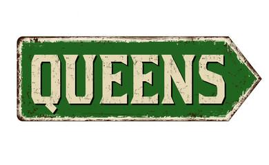 Queens vintage rusty metal sign