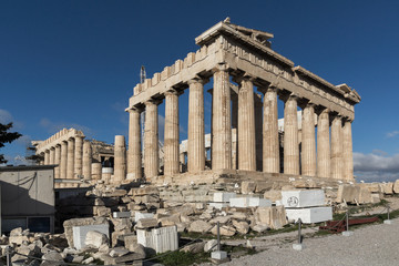 Fotobehang Ancient Building of The Parthenon in the Acropolis of Athens, Attica, Greece