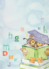 Watercolor education background with owl
