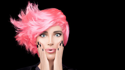 Fashion model girl with stylish pink hair. Beauty salon hair coloring concept. Short hairstyle