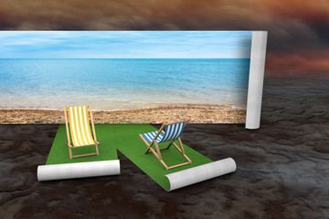 Concept of imaginary chair on the beach against desert background