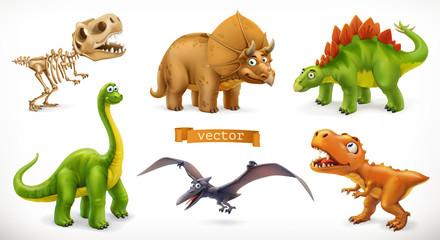 Estores personalizados infantiles con tu foto Dinosaurs cartoon character. Brachiosaurus, pterodactyl, tyrannosaurus rex, dinosaur skeleton, triceratops, stegosaurus. Funny animal 3d vector icon set
