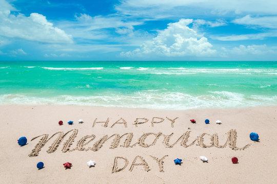 Memorial day background on the beach near ocean