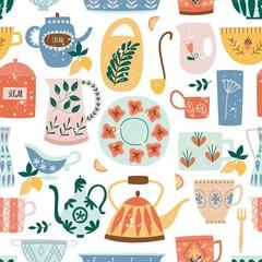 Kitchen seamless pattern of ceramic tableware flat cartoon style