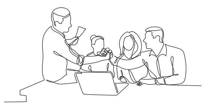 team members shaking hands cheering to success in work - single line drawing