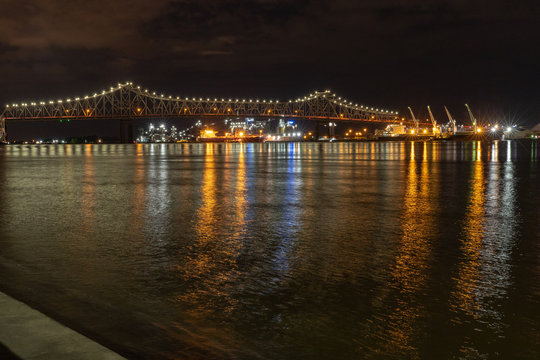 Mississippi River Bridge at night in Baton Rouge, Louisiana