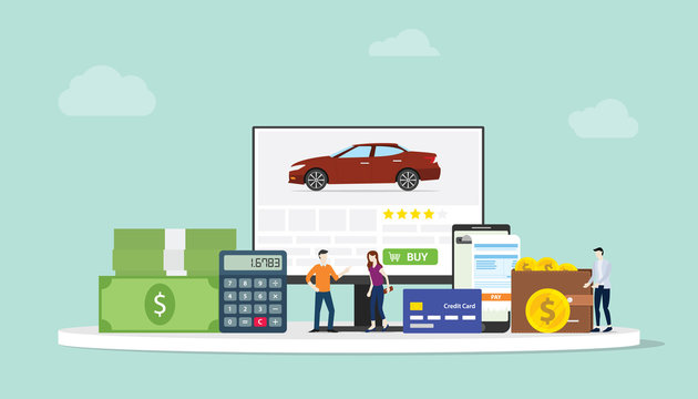 online car shopping e-commerce technology with team people and finance team on website computer - vector