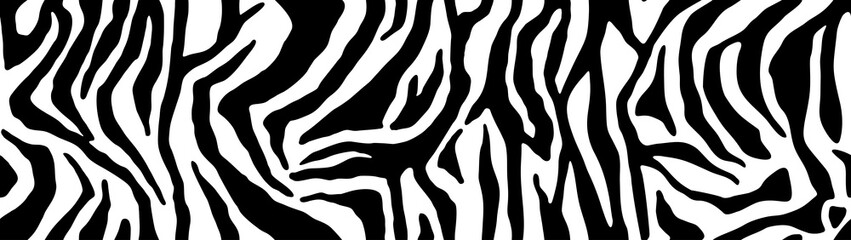 Zebra pattern, stylish stripes texture. Animal natural print. For the design of wallpaper, textile, cover. Vector seamless background