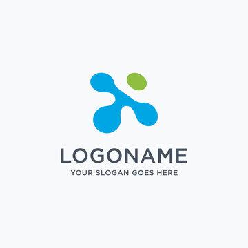 Digital letter x link logo icon vector on white background