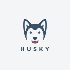 Minimalist siberian Husky dog logo icon