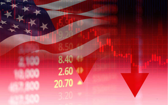 USA. America stock market crisis red price arrow down chart fall / New york Stock Exchange analysis or forex graph business finance money crisis losing