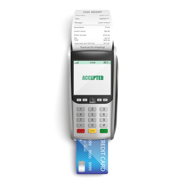 Making successful payment for purchases in shop or supermarket by credit card through POS terminal.