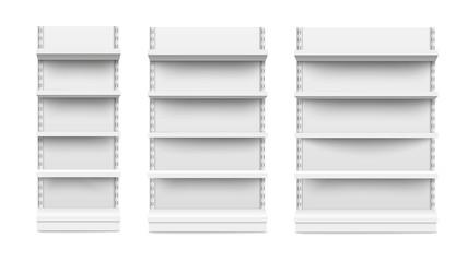 Fototapeta Empty stand retail shelves three diferent size pieces mockup vector. obraz