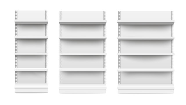 Empty stand retail shelves three diferent size pieces mockup vector.