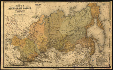 Wall Mural - Russia in Asia old map 1868