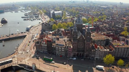 Wall Mural - Beautiful scenic view of the Amsterdam central station.