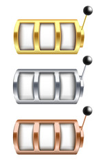 Vector illustration set of golden, silver and bronze jackpot gambling machine with empty slots.