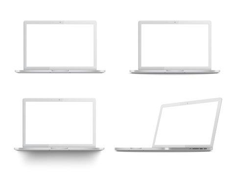 Set of white laptop mockups