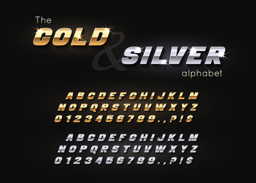 Vector Gold and Silver Font and Alphabet. Abc, english letters and numbers