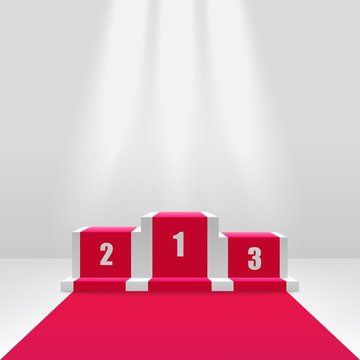Competition winners podium or pedestal 3d vector illustration isolated on white.