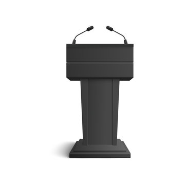 Black stand, tribune and podium with microphones for speeches and speakers.
