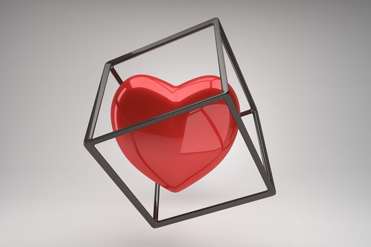 Red  heart symbol in a black cube frame on a gray background, modern love concept. Minimalistic geometric design for poster, cover, branding, banner, placard. 3d rendering.