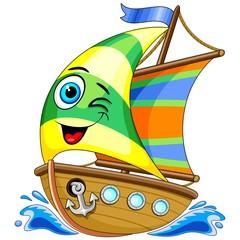 In de dag Draw Sailing Boat Cute Cartoon Character Vector Illustration