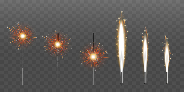 Firework fountain of sparks or pyrotechnic candle vector illustration set isolated.