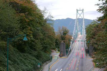 Top shot of Lions Gate Bridge at Stanley Park in Vancouver BC Canada