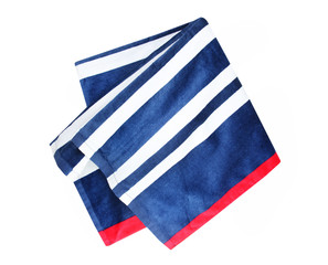 Blue stripped folded beach towel isolated.