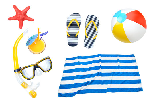 Summer objects collage,beach items set isolated.