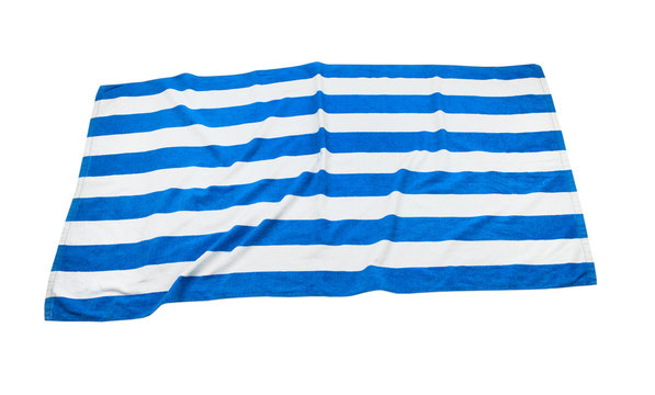 Beach towel top view isolated.