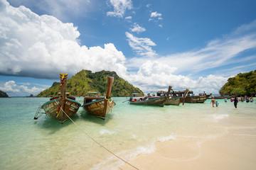 Long tail boats at the beautiful beach, Thailand