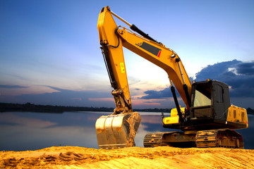 excavator at work Wall mural