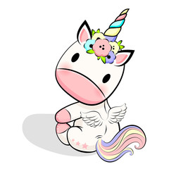 Estores personalizados infantiles con tu foto Cute Baby unicorn with flowers and wings