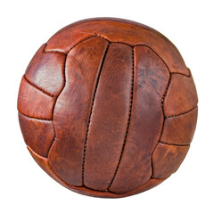 Image of retro leather soccer ball.