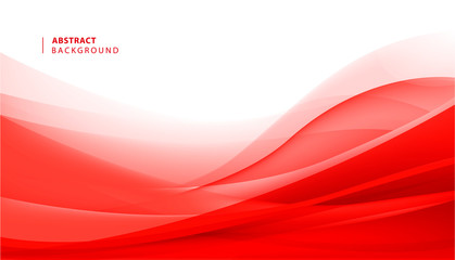 Vector abstract red wavy background. Curve flow motion Fototapete